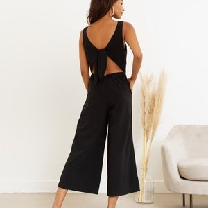 MODERN CITIZEN Black Jumpsuit with Open Back Tie